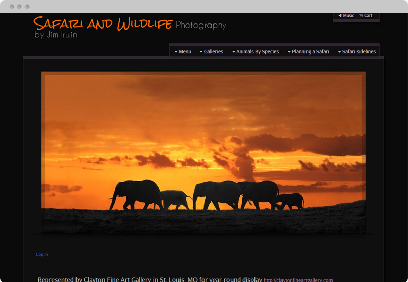 Redframe Photography Websites Client Example - Jim Irwin Wildlife