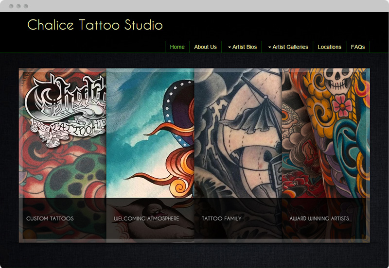 Redframe Photography Websites Client Example - Chalice Tattoo Studio