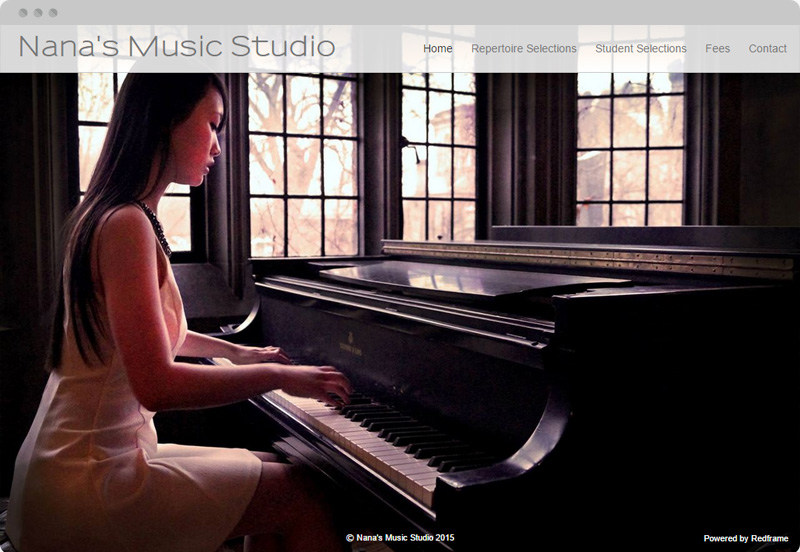 Redframe Photography Websites Client Example - Nana's Music Studio