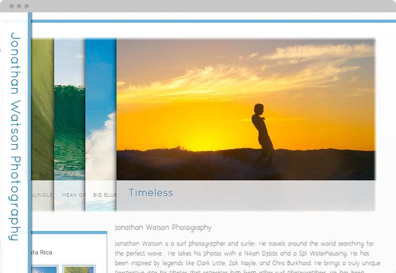 Redframe Photography Websites Client Example - Jonathan Watson Surf Photos